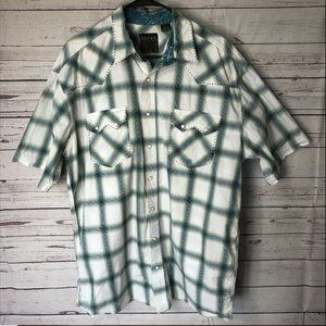 Roper Men's Western Pearl Snap Short Sleeve Sz XL